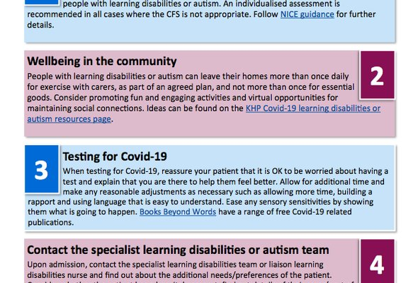 Top ten tips for staff supporting patients with learning disabilites or autism during covid 19 listing